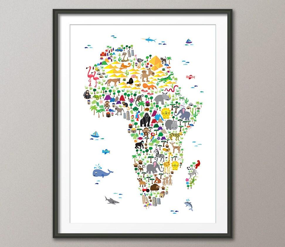 Tiere aus Afrika Karte für Kinder und Kinder Art Print 263 | Etsy