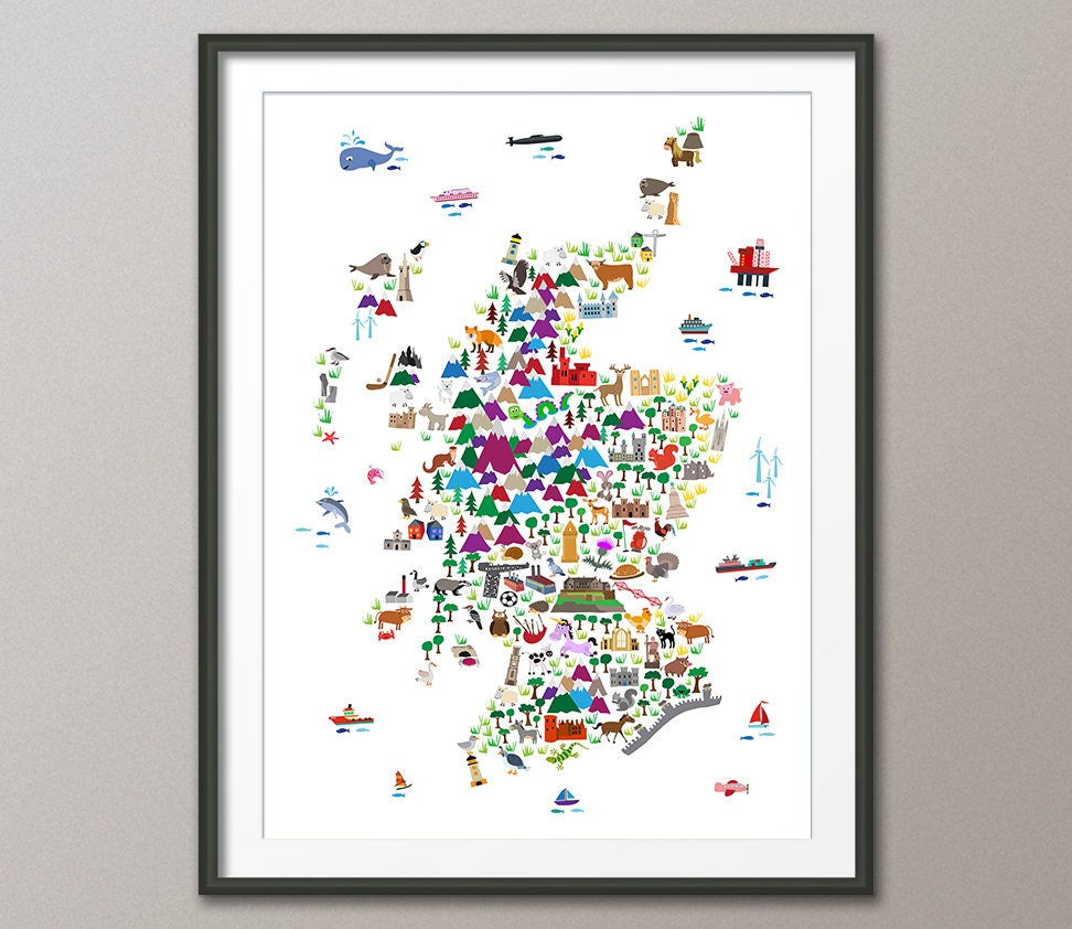 Schottland Tier-Karte für Kinder und Kinder Schottland Karte | Etsy