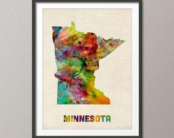 Minnesota Watercolor Map USA, Art Print (385)
