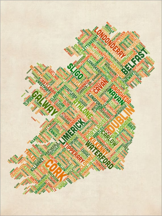 County Map Of Ireland With Cities.Ireland Eire City Text Map Art Print 309