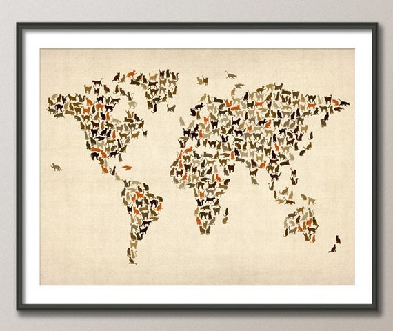 Cats map of the world map art print 180 gumiabroncs Image collections