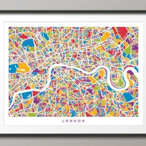 Cartina Stradale Londra.Londra Mappa La Mappa Stradale Di Londra Inghilterra Stampa Etsy