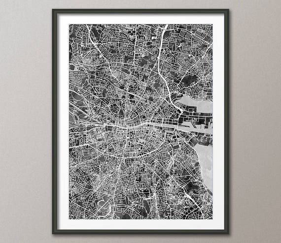 City Map Of Dublin Ireland.Dublin Map Dublin Ireland City Map Street Map Of Dublin Eire Art Print 2806