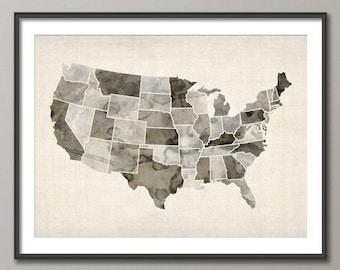 Watercolor United States Map (USA), Art Print (547)