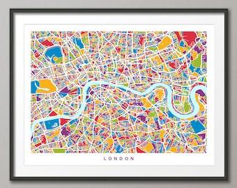 London Map, Street Map of London England, Art Print (2967)