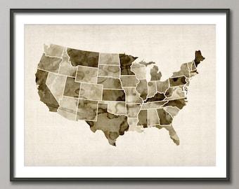 Watercolor United States Map (USA), Art Print (532)