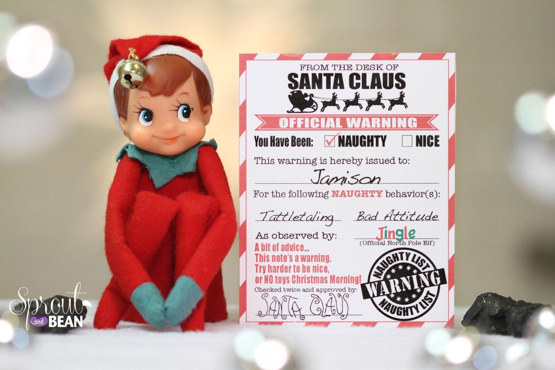 Naughty & Nice Warning and Reward Christmas Elf letter | Etsy
