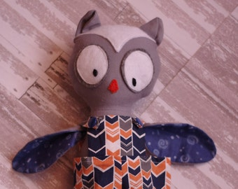 Ollie the Owl in Multi Overalls