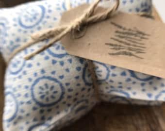 Lavender Drawer Sachets - Olive & Daisy fabric- Clara Marine Blue linen