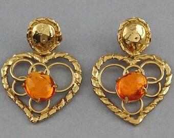 18ec210cfc7 Vintage YVES SAINT LAURENT Ysl by Robert Goossens Openwork Heart Amber  Resin Dangling Earrings