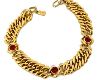 feda9888373 Vintage YSL Yves Saint Laurent by Robert Goossens Red Rhinestone Chunky Chain  Choker Necklace