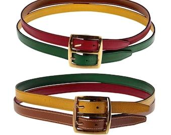 Vintage HERMES réversible couleur Pop Double sangle ceinture cd67d51c882