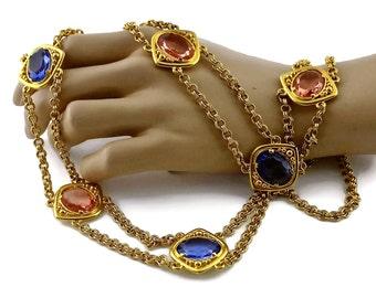 06d00d24f38 Vintage YSL Yves Saint Laurent Coloured Glass Stones Multi Layer Chain Long  Necklace