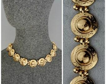 017976a61a6 Vintage YVES SAINT LAURENT Ysl Medallion Link Choker Necklace