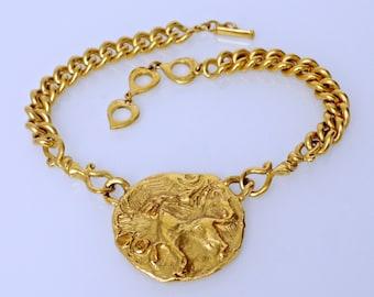 cb0f12dfb27 Vintage YSL Yves Saint Laurent by Robert Goossens Lion Medallion Necklace