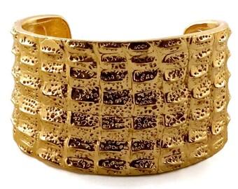ff64f695bd33 Vintage YSL Yves Saint Laurent Crocodile Pattern Bracelet Cuff