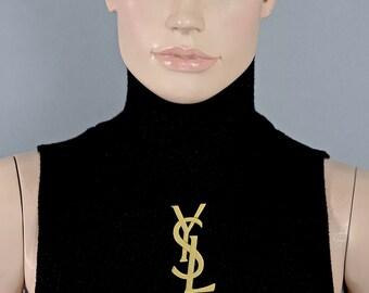c25285ec9f31e Vintage Huge 7.5 cm YVES SAINT LAURENT Ysl Logo Justin Beiber Lapel Pin  Brooch
