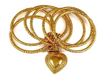 7200130289a Vintage YVES SAINT LAURENT Ysl Heart Charm Stack Bangles Cuff Bracelet