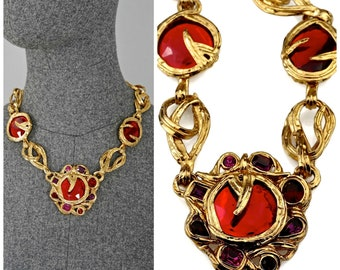 027bf278d15 Vintage YVES SAINT LAURENT Ysl Robert Goossens Ruby Rhinestone Flower  Necklace