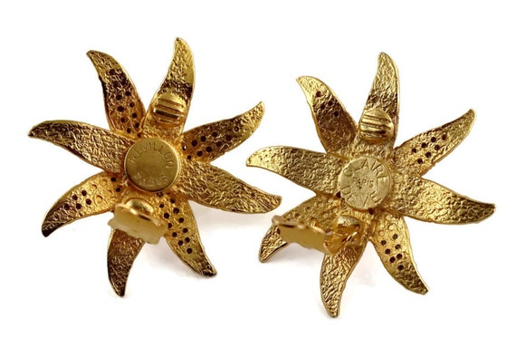 Vintage CLAIRE DEVE Ribbed Flower Pearl Rhineston… - image 6