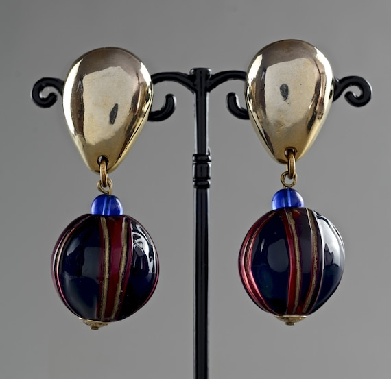 Vintage CLAIRE DEVE Glass Ball Dangling Earrings - image 2