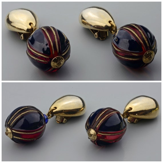 Vintage CLAIRE DEVE Glass Ball Dangling Earrings - image 7