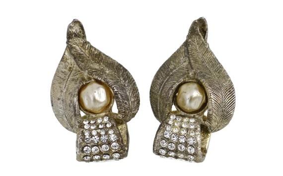 Vintage CLAIRE DEVE Rustic Pearl Rhinestone Earri… - image 5