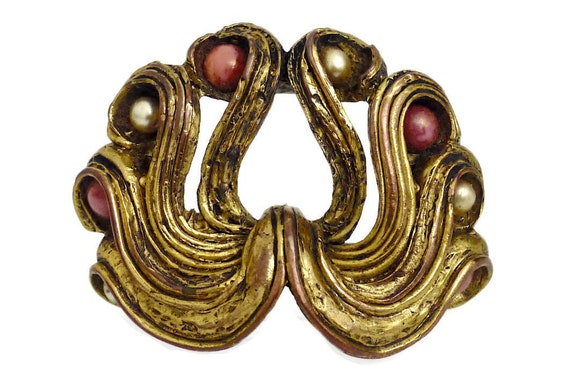 Vintage Claire Deve Pearl Coral Curled Brooch - image 2