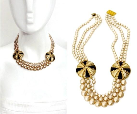 Vintage Balenciaga Tiered Pearl Disc Necklace