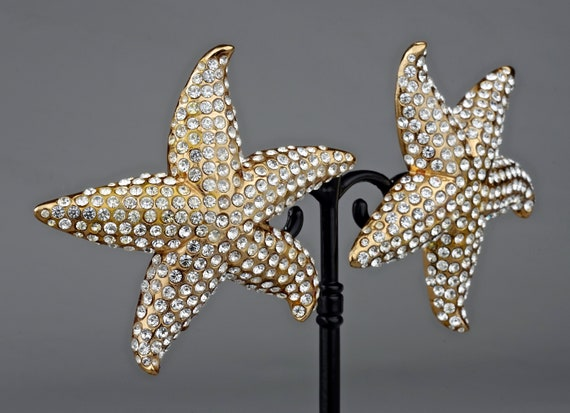 Vintage Lanvin Paris Star Fish Rhinestone Earrings - image 7
