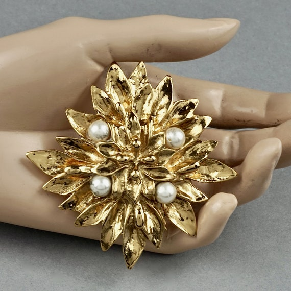 Vintage YVES SAINT LAURENT Ysl Pearl Flower Brooch - image 5