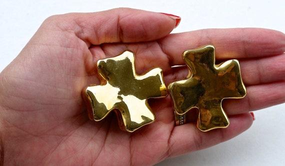 Vintage Christian Lacroix Cross Earrings - image 5