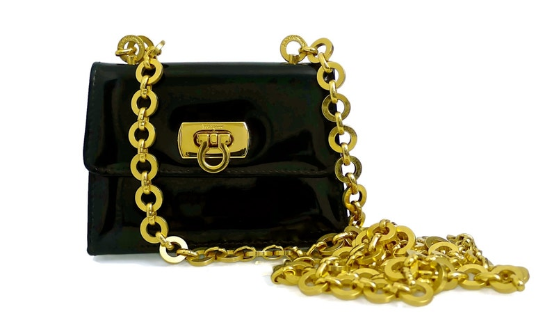 940506ef01 Vintage SALVATORE FERRAGAMO Patent Mini Shoulder Bag