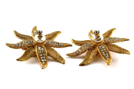 Vintage CLAIRE DEVE Ribbed Flower Pearl Rhineston… - image 3