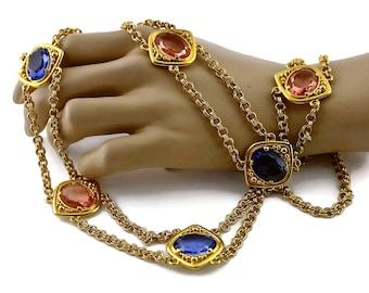 Vintage YSL Yves Saint Laurent Coloured Glass Stones Multi Layer Chain Long Necklace