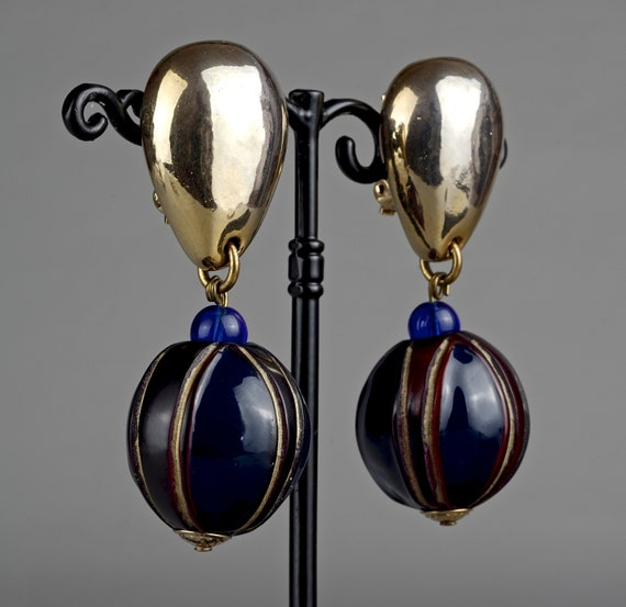 Vintage CLAIRE DEVE Glass Ball Dangling Earrings - image 4