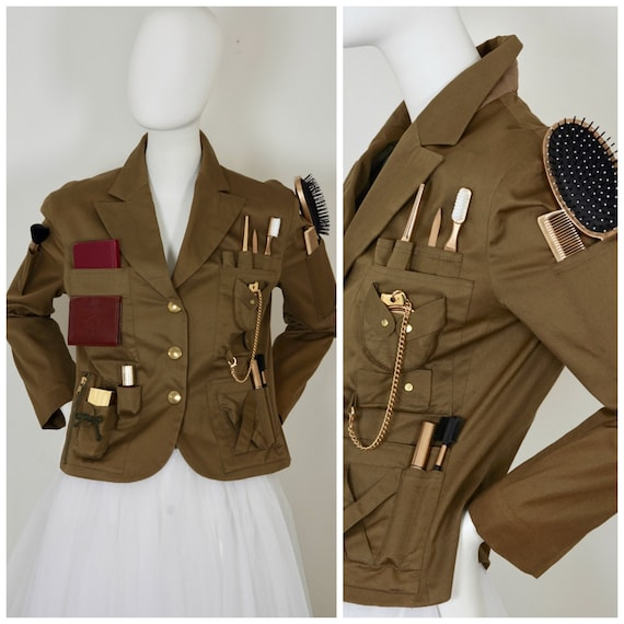 vintage rare moschino couture survival jacket military safari etsy