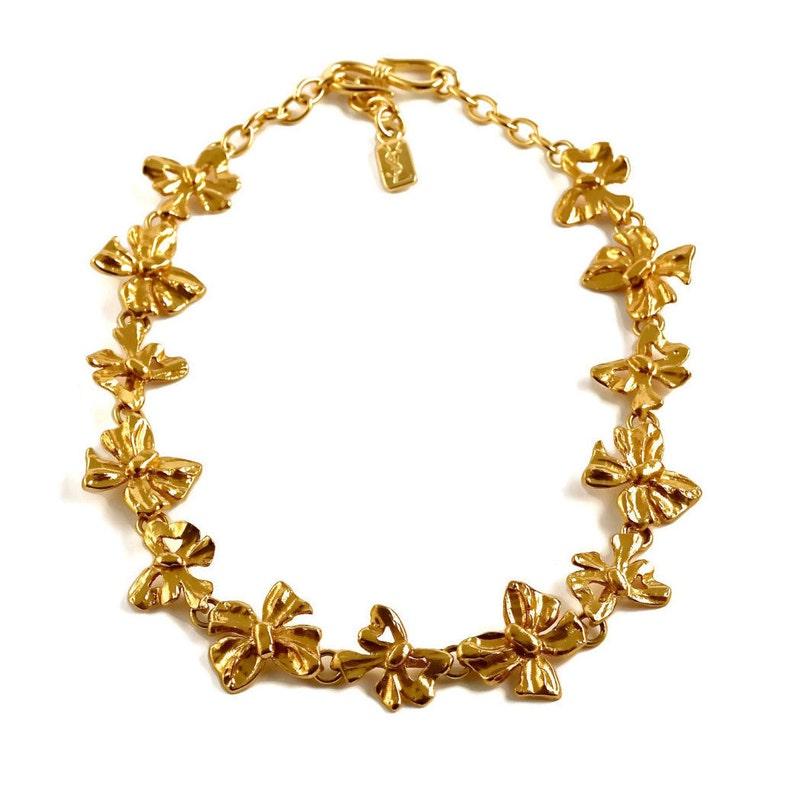 e52694e045c Vintage YSL Yves Saint Laurent Bow Ribbon Link Necklace | Etsy