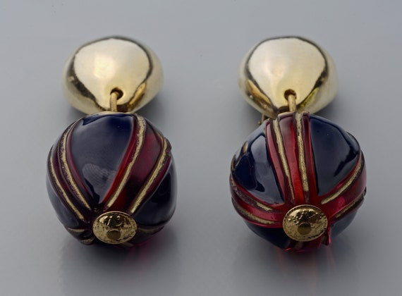 Vintage CLAIRE DEVE Glass Ball Dangling Earrings - image 1