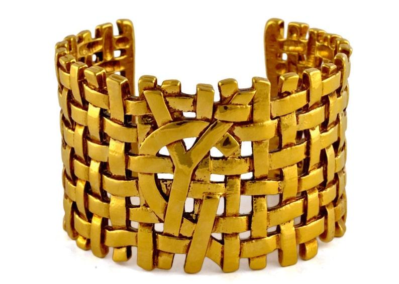 8029ef58655 Vintage YVES SAINT LAURENT Logo Woven Cuff Bracelet | Etsy