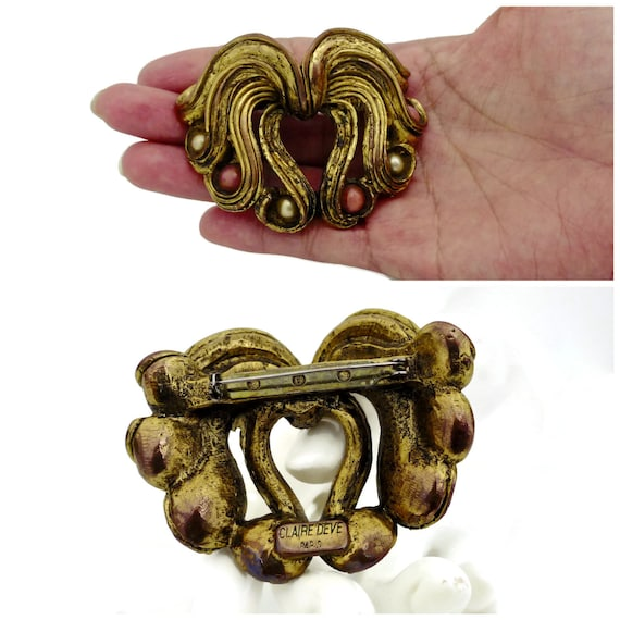 Vintage Claire Deve Pearl Coral Curled Brooch - image 5