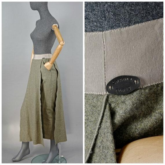 Vintage 1999 CHANEL Overlap Panel Wool Long Skirt