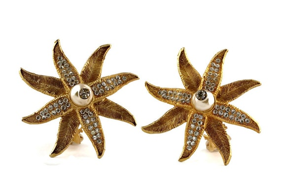 Vintage CLAIRE DEVE Ribbed Flower Pearl Rhineston… - image 2