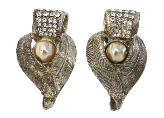 Vintage CLAIRE DEVE Rustic Pearl Rhinestone Earri… - image 1