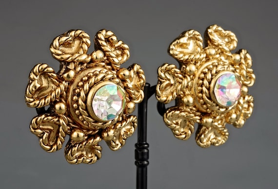 Vintage Massive CLAIRE DEVE Flower Rhinestone Ear… - image 3