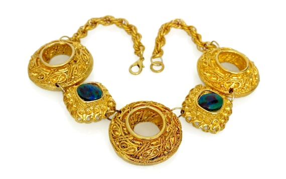 Vintage Claire Deve Byzantine Turquoise Stone Nec… - image 1