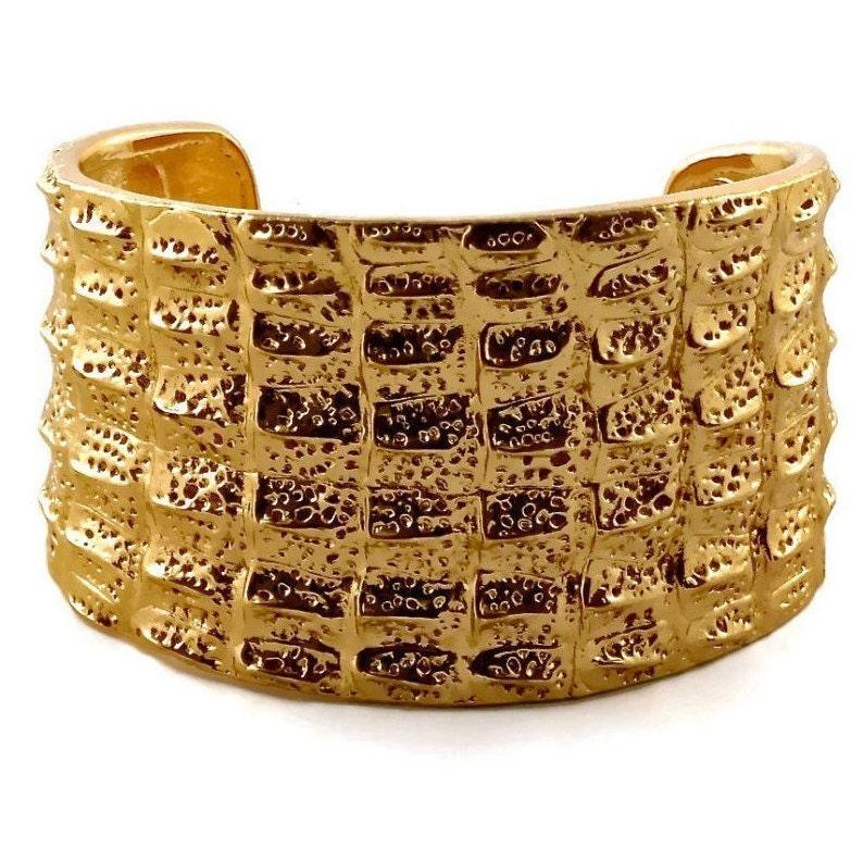 66e2feffaaf Vintage YSL Yves Saint Laurent Crocodile Pattern Bracelet Cuff   Etsy