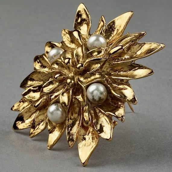 Vintage YVES SAINT LAURENT Ysl Pearl Flower Brooch - image 3
