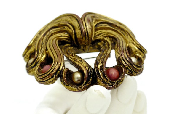 Vintage Claire Deve Pearl Coral Curled Brooch - image 3