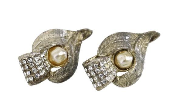 Vintage CLAIRE DEVE Rustic Pearl Rhinestone Earri… - image 4